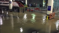 Three platforms were initially closed as water swept across three platforms