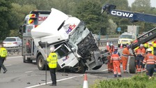 Two lorries and a minibus were involved in the crash.