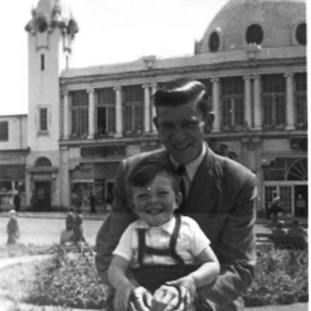 A family photo outside the Spanish City in 1955 featuring Steve Yarrow and his dad Norman.