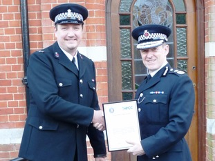 Pc Mark Webster was presented with a certificate by Chief Constable Stephen Kavanagh at Essex Police Headquarters