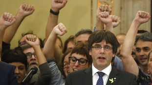 Carles Puigdemont celebrated the disputed declaration of independence on Friday.