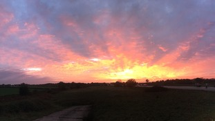 A stunning sunset on 26 October just off the A11 at Ketteringham in Norfolk.