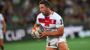 Sam Burgess of England is seen in action during the first pool A match of the Rugby League World…