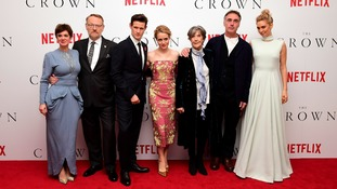 The cast (left-right) of Victoria Hamilton, Jared Harris, Matt Smith, Claire Foy, Dame Eileen Atkins, Greg Wise and Vanessa Kirby in 2016