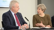 Carwyn Jones and Theresa May at a previous meeting in Swansea