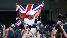 Lewis Hamilton celebrates after the Mexican Grand Prix.