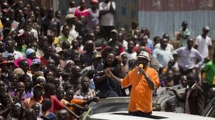Raila Odinga (orange) boycotted the election.