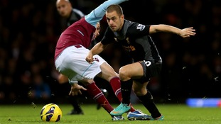 Joe Cole during his return to Upton Park with Liverpool