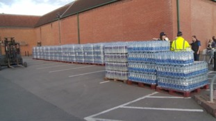 Bottled water will be available to be collected all day.