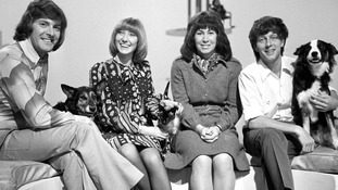Peter Purves, Lesley Judd, Valerie Singleton and John Noakes with Shep in 1972.