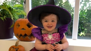 This is 19 month old Phoebe Williams from Flockton Huddersfield dressed up as a Halloween witch ready for a fun day at nursery.