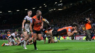 Castleford Tigers' Alex Foster scores his sides first and only try of the game during the Super League Grand Final