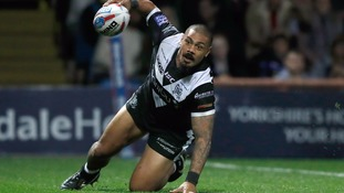 Hull FC's Sika Manu goes over for a try against Leeds Rhinos