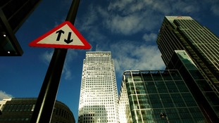 Road sign in Canary Wharf.