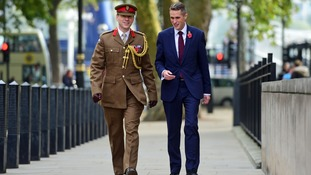 Gavin Williamson (right) outside the Ministry of Defence in London