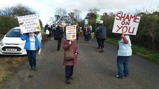 'Slow-walk' peaceful protest outside fracking site