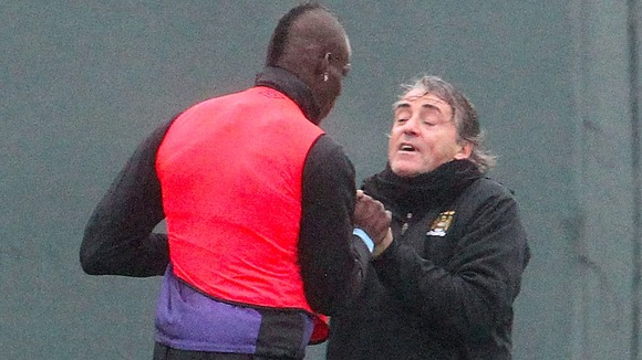 Blues boss Roberto Mancini reacted after Balotelli caught Scott Sinclair with a late challenge