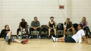 The President chats after a game of basketball in Los Angeles. The other players include actor (3rd from R) George Clooney (May 11)