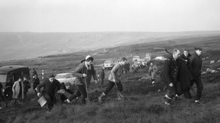 Police searching on Saddleworth Moor for victims of moors murderer Ian Brady in 1965.