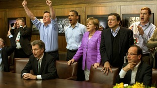 European leaders take a break from G8 talks at Camp David to watch the penalties of the Chelsea vs. Bayern Munich Champions League final