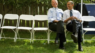 The President and Vice President share a laugh before a campaign rally together in Portsmouth, Hew Hampshire (September 7)