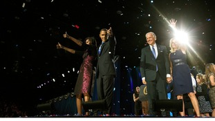 The Obamas and Bidens following the President's election night remarks at McCormick Place in Chicago (November 6)