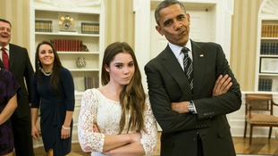 The President recreating US Olympic gymnast McKayla Maroney's 'not impressed' photograph at the White House (November 15)