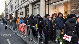 Launch of iPhone X draws huge crowds after fans camp overnight for £999 device