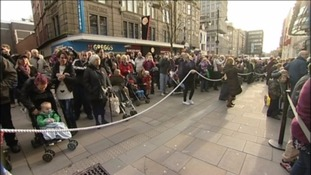 Crowds gather to see the 2013 Fenwick's Christmas window unveiling.