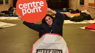 Vicky Pattison and Kevin Ball take part in Centrepoint Sleep Out at Stadium of Light