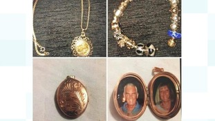 Items of jewellery stolen in the burglary.