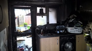 A kitchen in Wrexham was wrecked by a firework let off inside the house