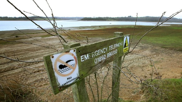 A sign next to Bewl Water near Lamberhurst in Kent pictured in December 2011