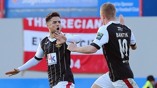 Heybridge Swifts players Ben Sampayo (left) and Sam Bantick (right) celebrate Bantick's goal against Exeter City.