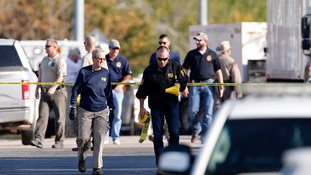 First responders work the scene of a shooting at the First Baptist Church of Sutherland Springs.
