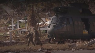 Marines arrives in the aftermath of the hurricane.