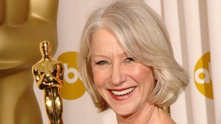 Helen Mirren posing with her award for Best Actress during the 79th Academy Awards in Los Angeles.