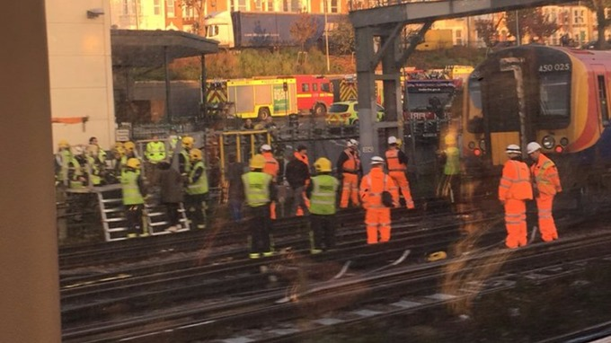 Passengers were evacuated after the derailment near to Wimbledon.