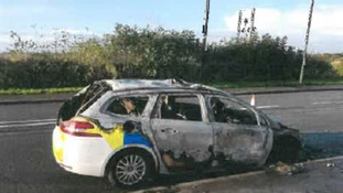 The car was set alight on Sunday