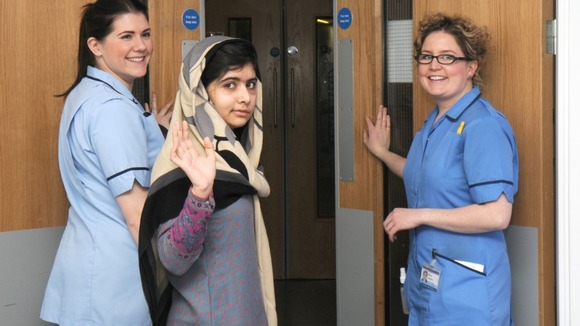 Malala leaving the hospital in Birmingham
