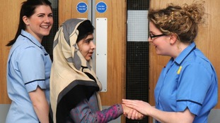 Malala Yousufzai waves goodbye to hospital staff in Birmingham