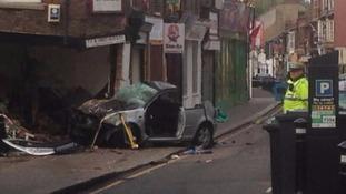 The crashed VW Golf