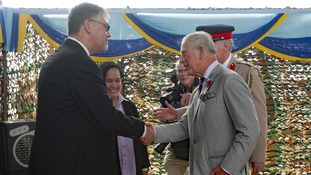 Prince Charles meets amateur diver, Stephen Flew.