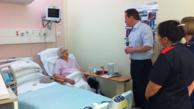 David Cameron talking to patient Ursula Chambers from Derby