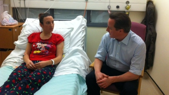 David Cameron talking to patient Cheryl Burns from Ilkeston