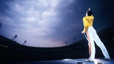 Freddie Mercury in his most iconic stage outfit