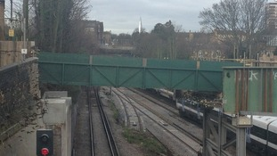 Temporary wooden footbridge has been built at St Johns in Deptford.