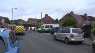 Police at the scene in Birmingham last year
