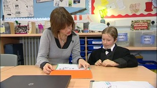 Christine Alsford and West Hove Junior pupil