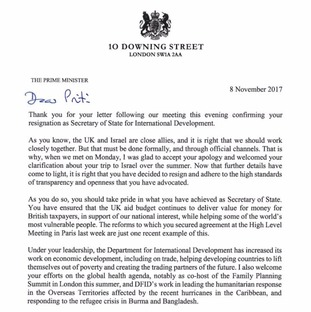 Theresa May's letter to Priti Patel accepting her resignation